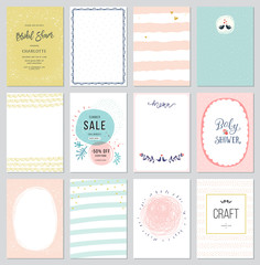 Contemporary universal cards templates. Design for invitations, posters, brochures and flyers. Also for newsletter,sale and promotional banners.