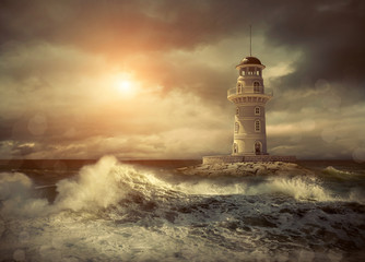 Lighthouse on the sea under sky Wall mural