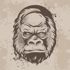 silhouette snout gorillas, monkeys in retro style