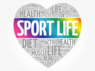 Sport Life heart word cloud, fitness, sport, health concept
