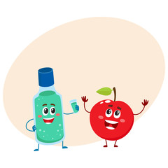 Funny dental mouthwash, mouth rinse and apple character, teeth care concept, cartoon vector illustration with place for text. Apple and dental mouthwash characters, good habits