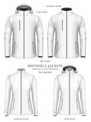 Set of womens and mens softshell jackets