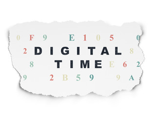 Timeline concept: Digital Time on Torn Paper background