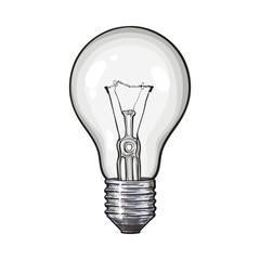 Traditional transparent tungsten light bulb, side view, sketch style vector illustration isolated on white background. Realistic hand drawing of retro style transparent tungsten light bulb