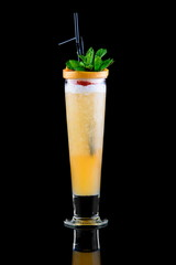 coctail with grapefruit and mint on black