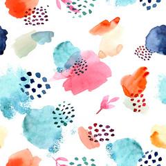 Watercolor seamless pattern,dot memphis fashion style, bright de