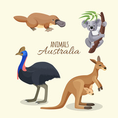 Australia animals collection of brown kangaroo, grey koala and duckbilled