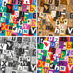 Set of ransom note kidnapper seamless patterns