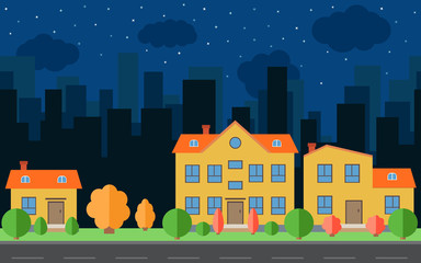 Vector night city with cartoon houses with trees and shrubs. City space with road on flat style background concept. Summer urban landscape. Street view with cityscape on a background