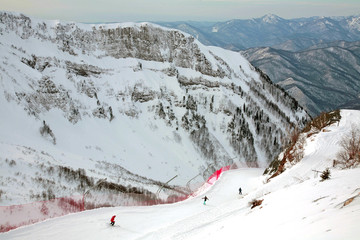 People skiing at Gorky gorod resort in Sochi