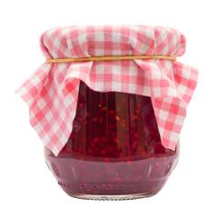 Raspberry jam jar isolated on white background
