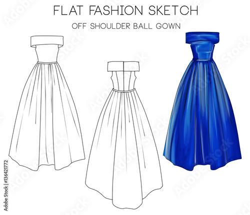 Flat fashion sketch of formal ball gown\