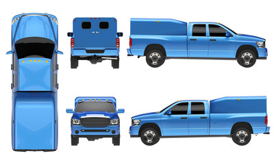 Blue pickup truck template isolated car on white background.