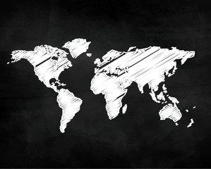 World map on chalk board vector