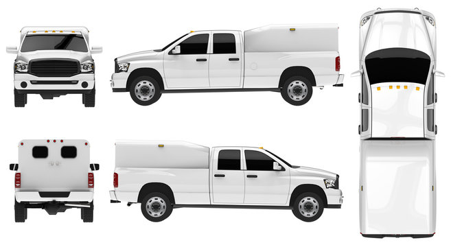 White pickup truck template isolated car on white background.