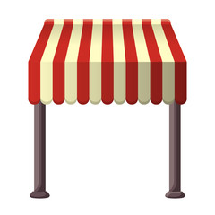 Striped awning for shops, street cafes, restaurants in summertime.