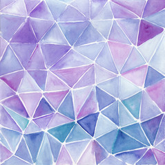 Abstract watercolor background polygonal hand painted