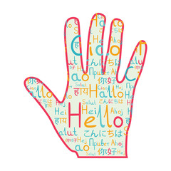 Friendship hand hello and hi with hello pattern pink