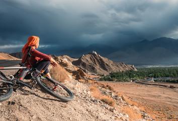 Woman bicycle traveler