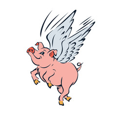 funny pink flying pig with wings vector
