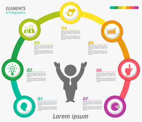 Vector elements for infographic. Template for diagram, graph, presentation and chart. Business concept with 7 options, parts, steps or processes. Abstract background.