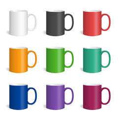 Vector set of realistic colored ceramic mugs. Isolated cups with shadow on white background.