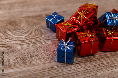 Quot gift boxes on rustic wood background design for