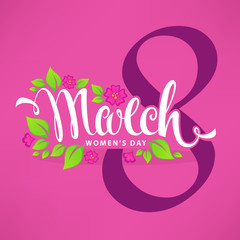 8 March - Women's Day, greeting card design template with green