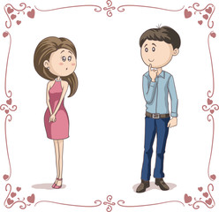 Love at First Sight Vector Cartoon Couple