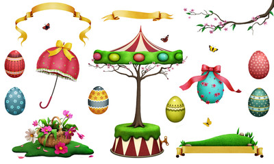 Easter holiday set of fantasy beautiful spring  Easter item for  greeting card or poster or illustration for your creativity.