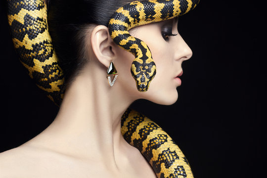 beauty woman,snake,jewelry and make-up