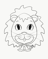 Coloring, small, funny boy lion cub