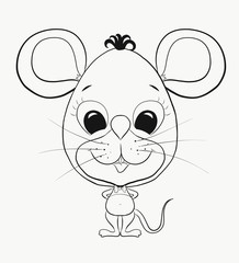 Coloring, small, funny little mouse boy