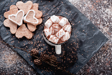 hot cacao with marshmallow and chocolate crumb with shortbread