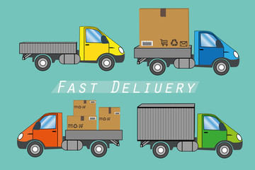 Fast delivery concept. Truck transporting a big cardboard package. Vector illustration
