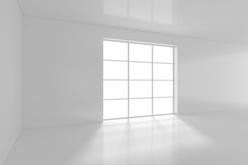 High resolution white room with window. 3d rendering.