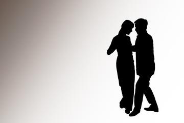 Tanzpaar auf weißgrauem hintergrund