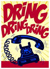 Retro phone ringing loudly vintage telephone pop art comic book style vector illustration