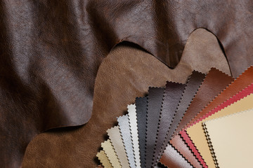 The composition of leather samples on a natural cow leather. Top view.