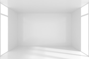 White Room Interior in Minimal Style with Empty Wall Background. 3d rendering.