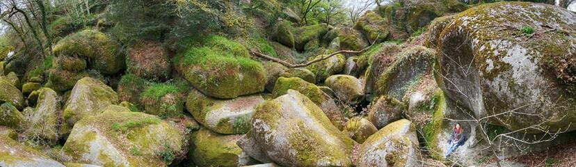 assise sur les rochers de Huelgoat bretagne france