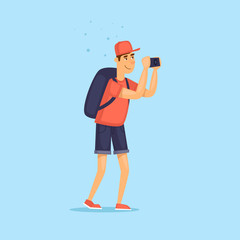 Tourist photographing. Character design. World Travel. Planning summer vacations. Flat design vector illustration.