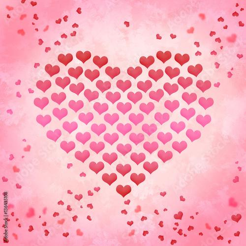 Valentinstag Herz Mit Herzen Auf Aquarell Hintergrund
