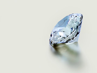 Shiny facet diamond placed on white background.3d