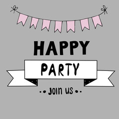 Happy party vector lettering