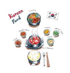 Korean food set doodle, kimchi soup, bibimbap and side dishes wa