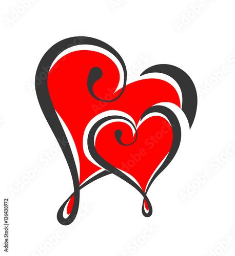 Zwei Herzen Liebe Design Element Banner Stockfotos Und Lizenzfreie