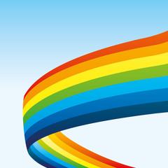 Rainbow in the blue sky.
