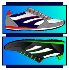Stylish comfortable sneakers for training, vector, illustration