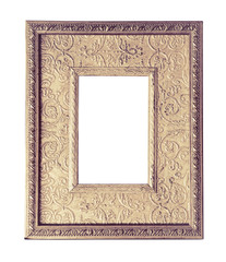 Framing empty space in a golden frame for for your art image in vintage style. Antique gilded frame with baroque ornament on baguette border.